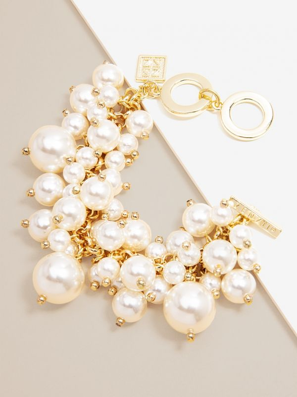 Pearl Cluster Bracelet on Gold Chain B1302