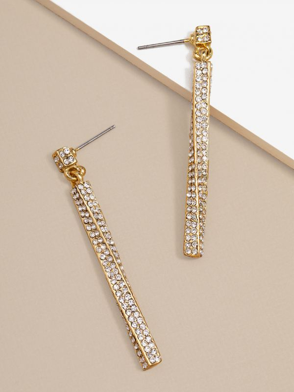 Pave Twisted Drop Earring E1375