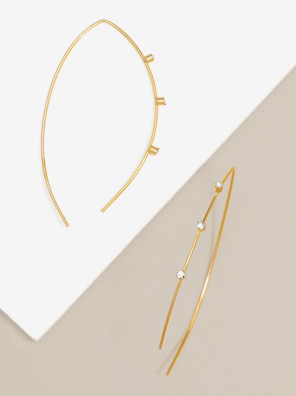 Delicate Crystal Embellished Pull Through Earring