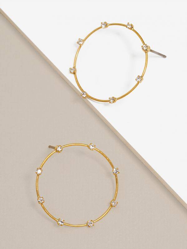 Small Delicate Crystal Embellished Hoop Earring E1873