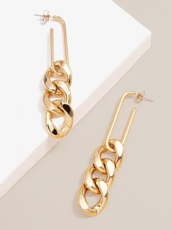 Curb Chain Drop Earring