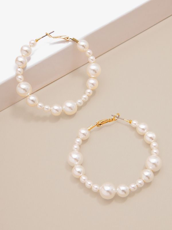 Beaded Pearl Statement Earring