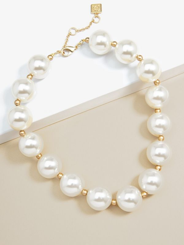Oversized Pearl Collar Necklace - Pearl