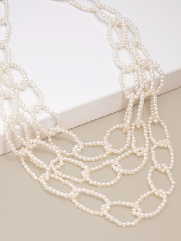 Beaded Pearl Links Collar Necklace - Pearl
