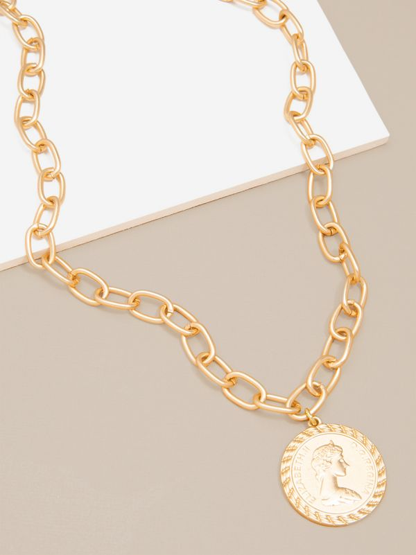 Coin Pendant and Chain Collar Necklace