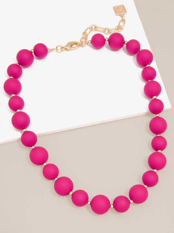Chunky Matte Beaded Collar Necklace ZZN2624