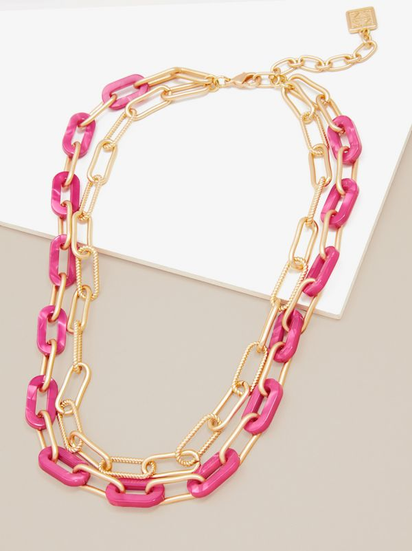 Marbled Resin and Paperclip Chain Layered Necklace N2634