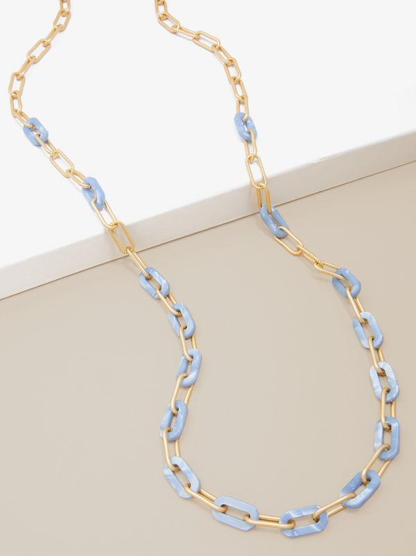 Marbled Resin and Paperclip Chain Long Necklace N2635