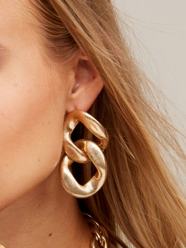 Burnished Double Link Drop Earring