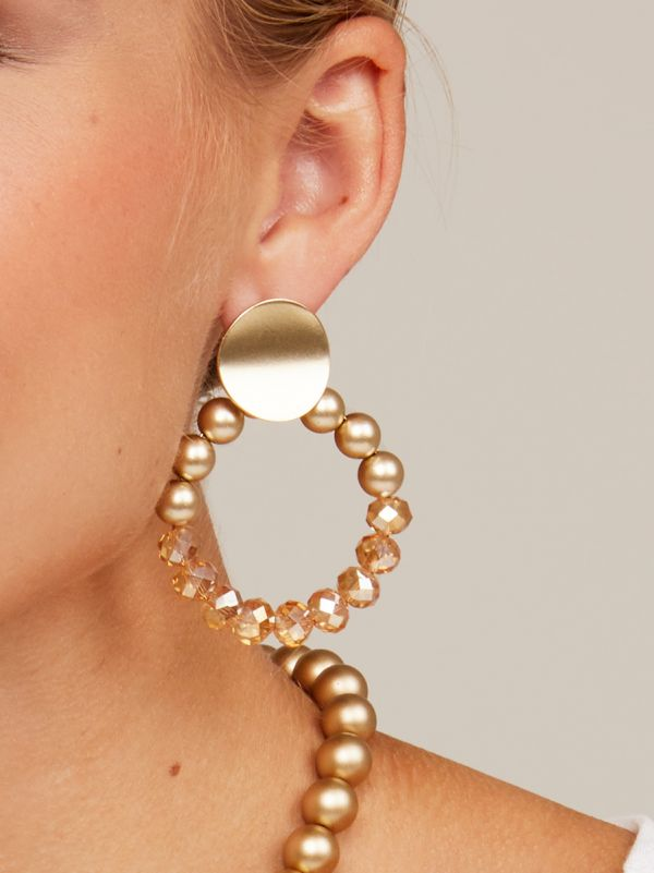 Metallic And Crystal Beaded Drop Hoop Earring