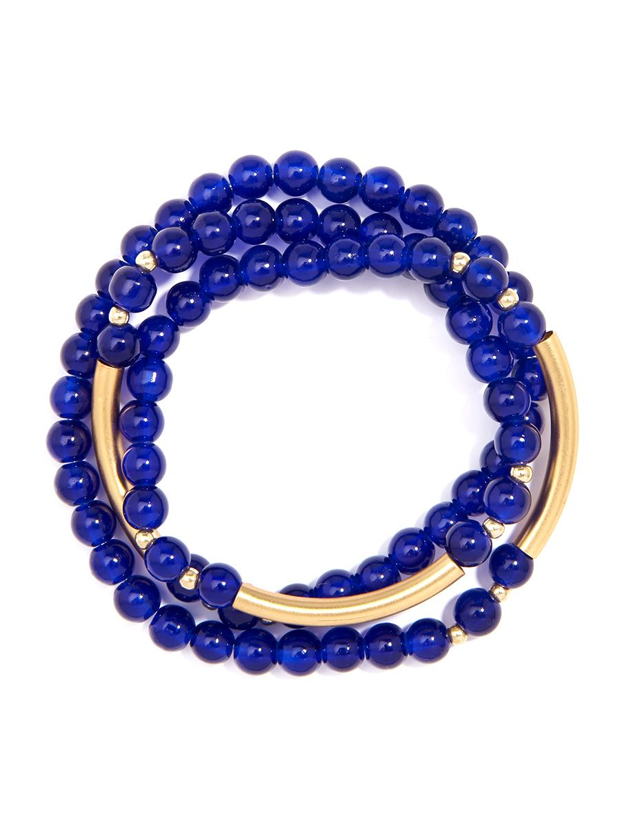 Glossy And Gold Beaded Wrap Bracelet