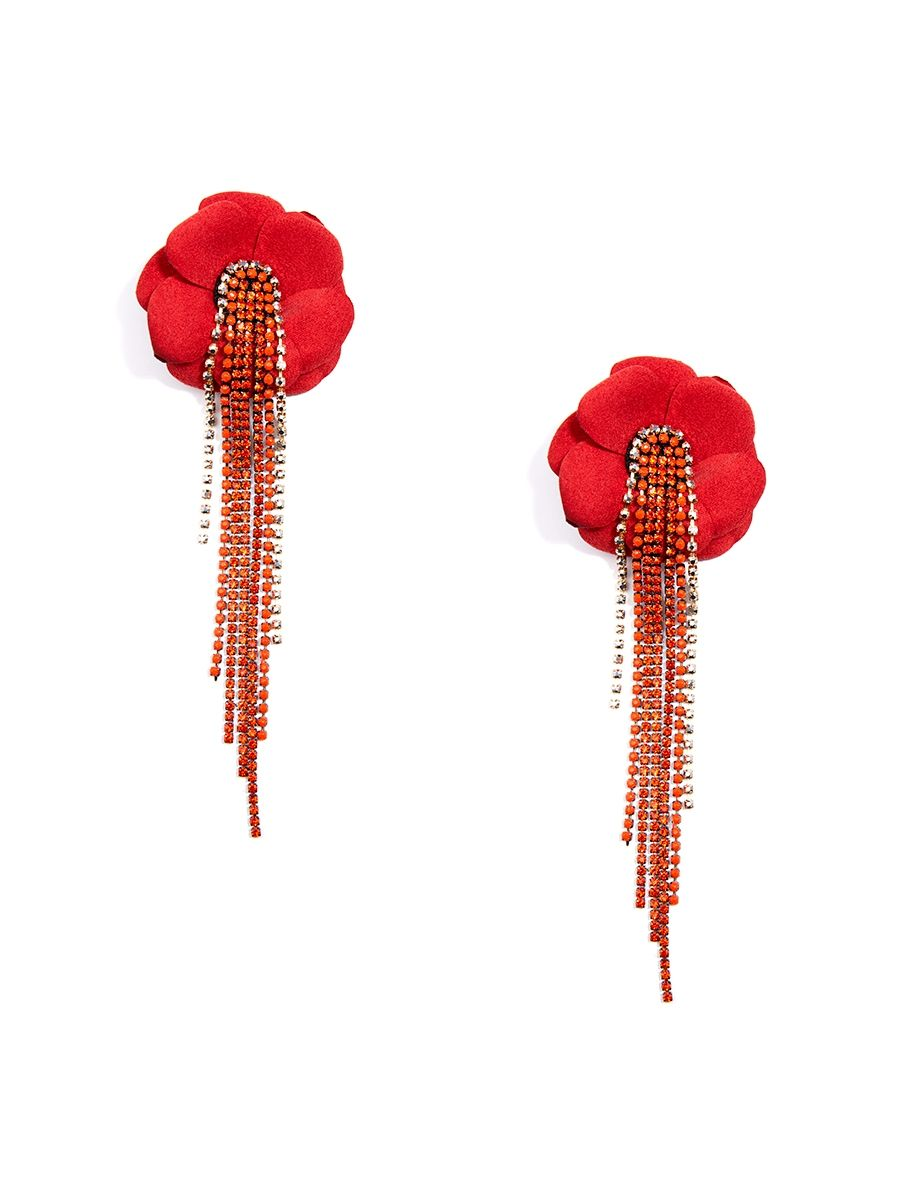 Handmade Flower Earring With Cascading Crystals