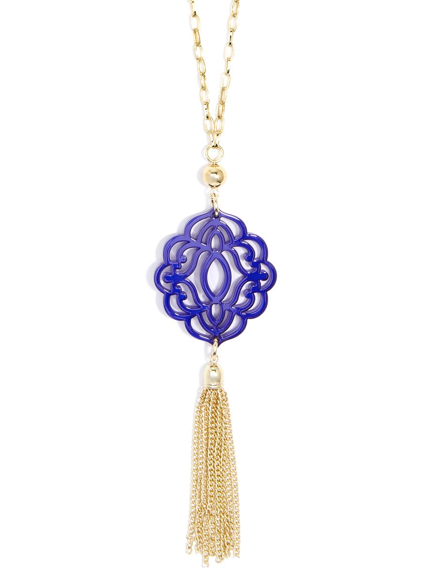 Baroque Resin Pendant Necklace with Tassel