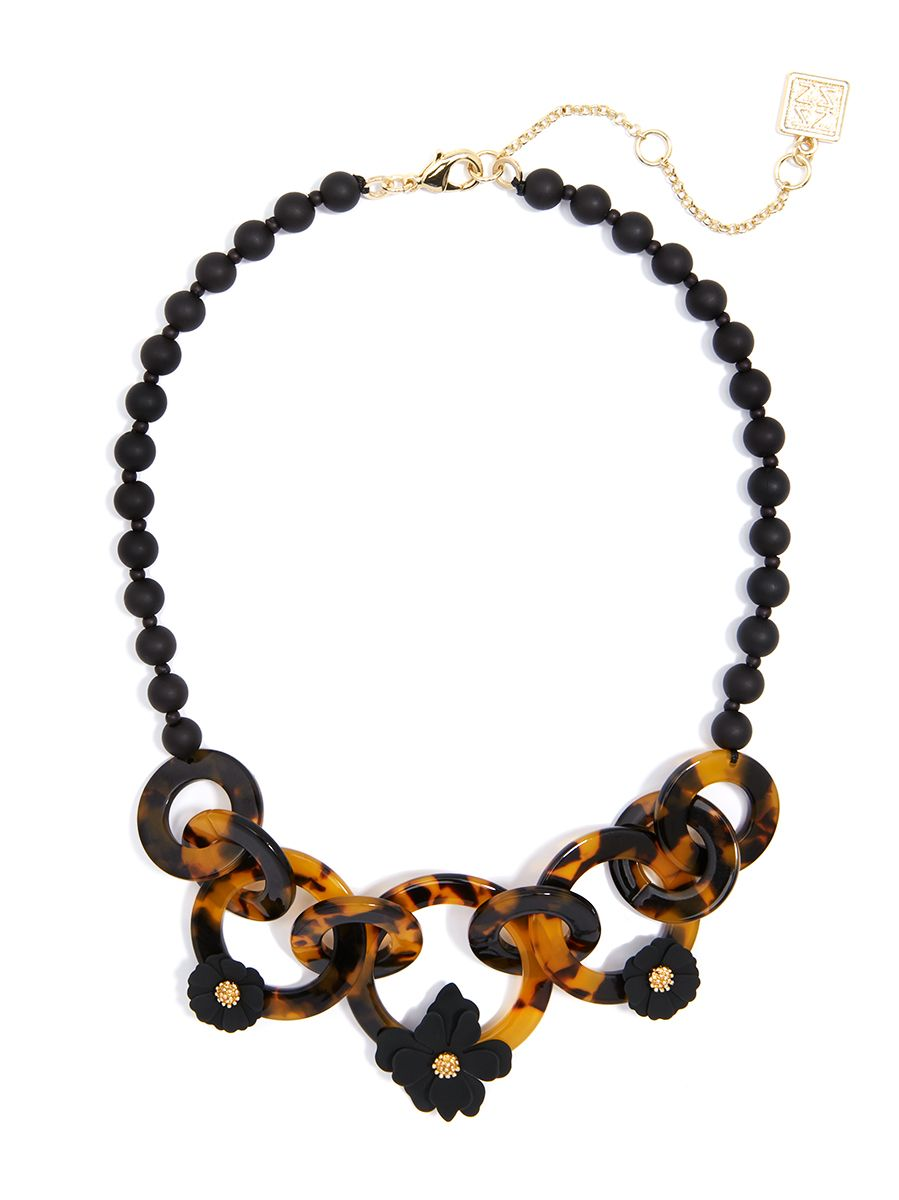 Tortoise And Flower Collar Necklace