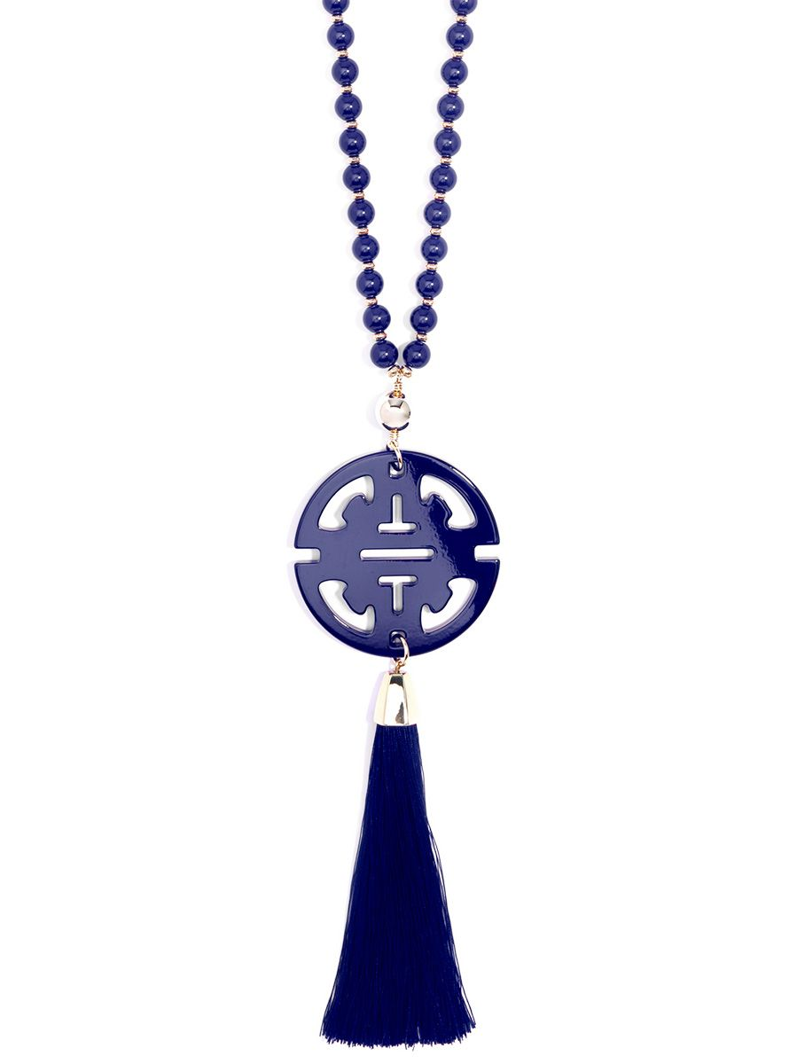 Traveling Resin Pendant Necklace With Tassel