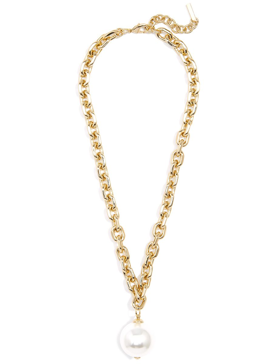 Cable Chain And Pearl Pendant Necklace