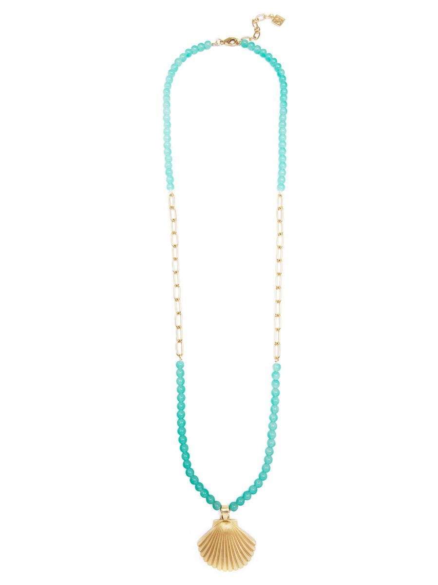 Seashell and Lucite Long Pendant Necklace