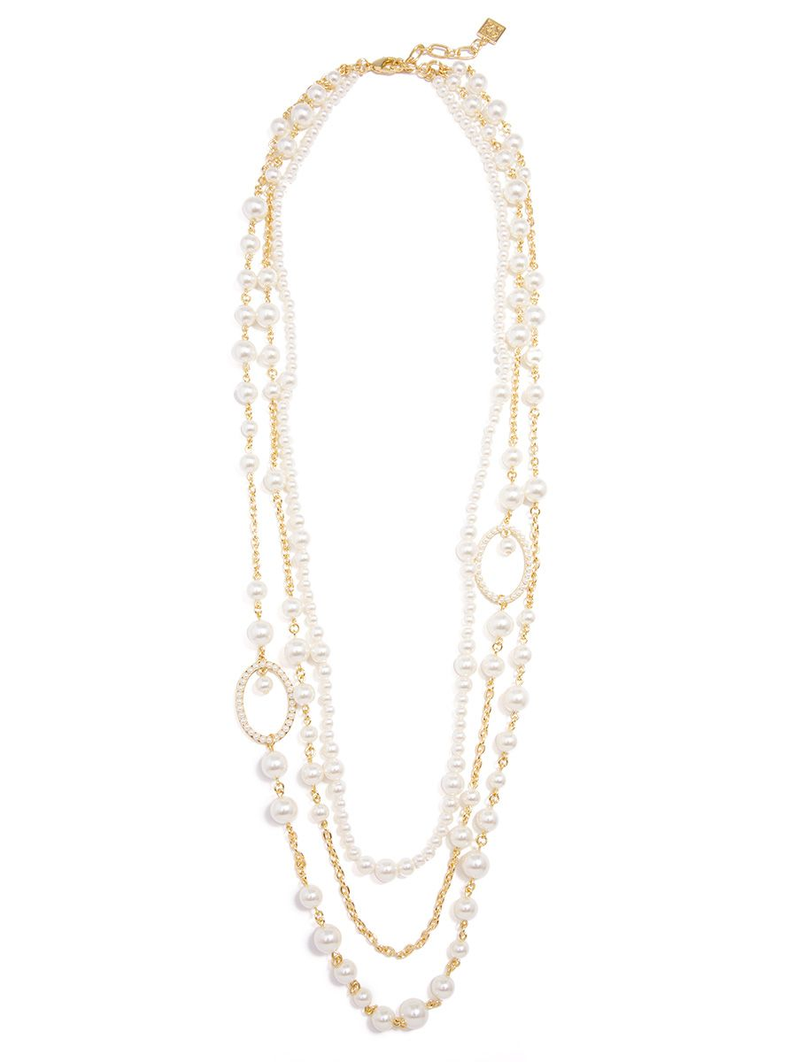 Long Layered Pearl & Chain Necklace