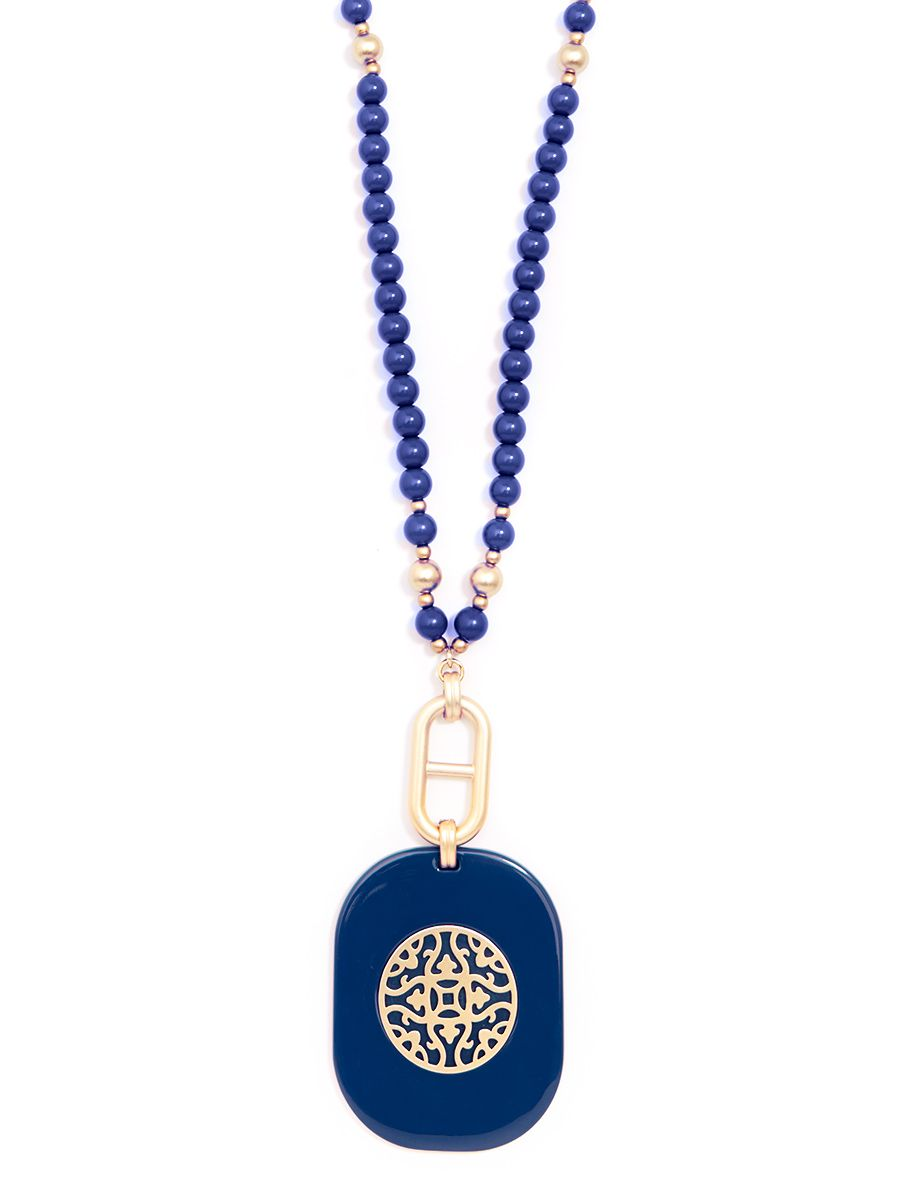 Resin Beaded Pendant Long Necklace