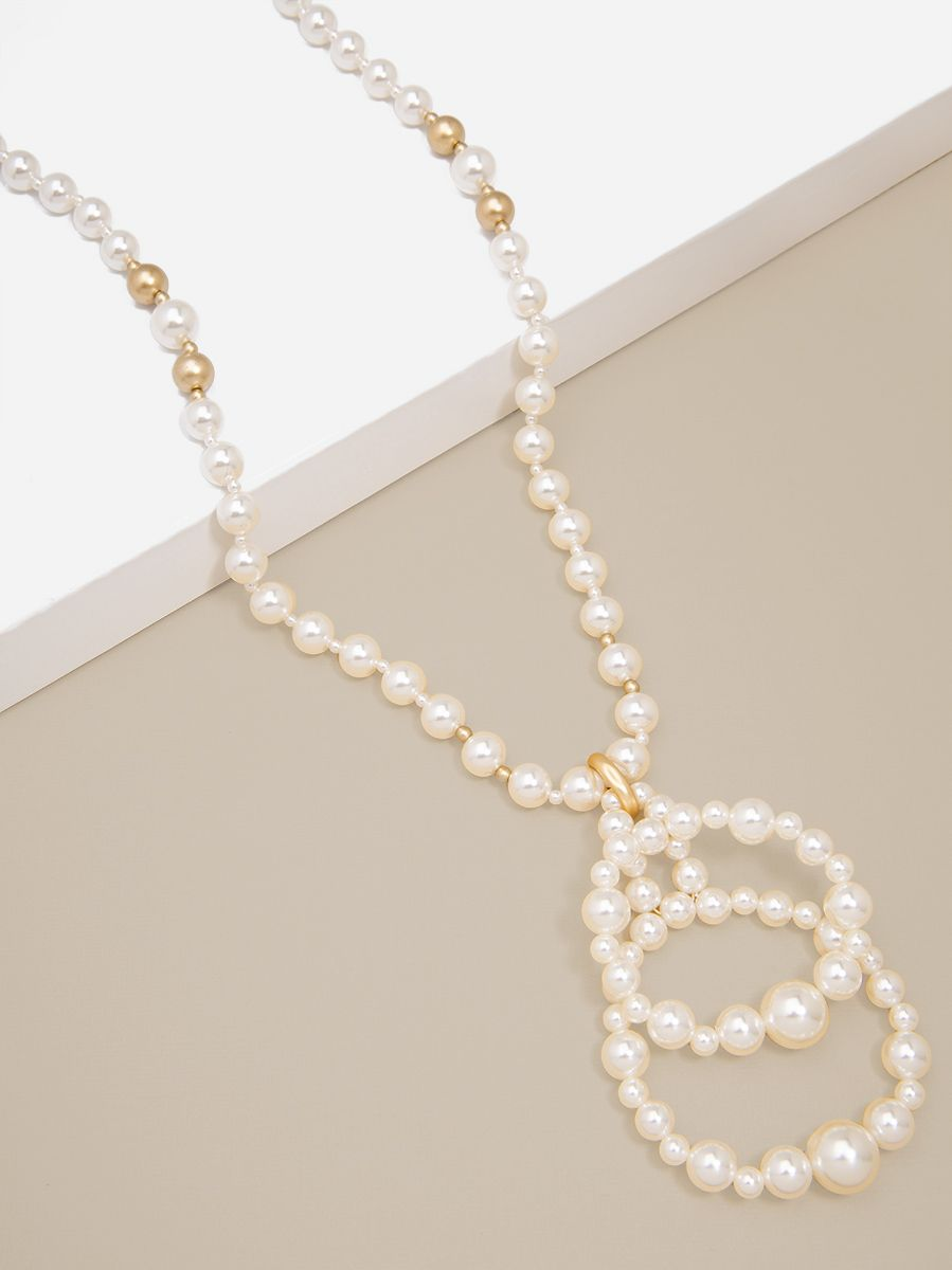 Beaded Pearl Drop Necklace
