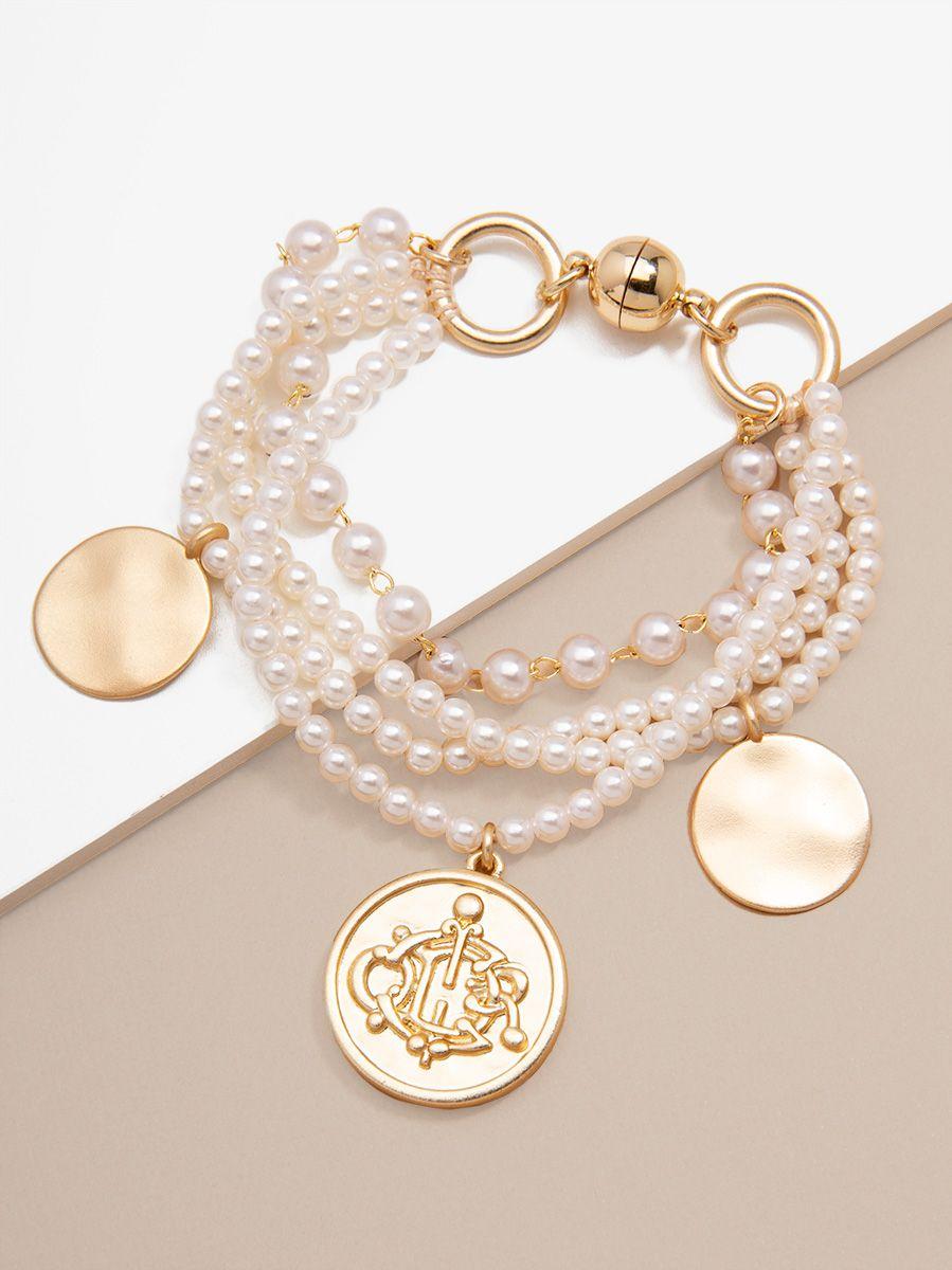 Layered Pearl Bracelet With Coin Charms