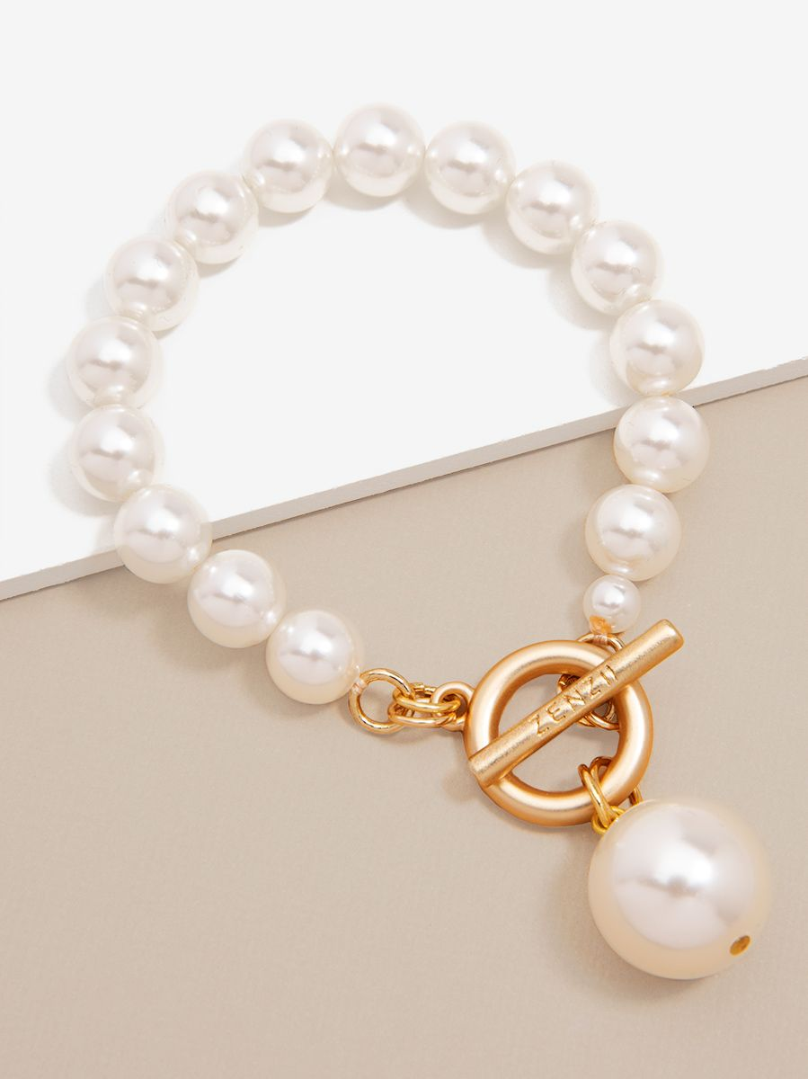 Pearl Charm And Toggle Bracelet