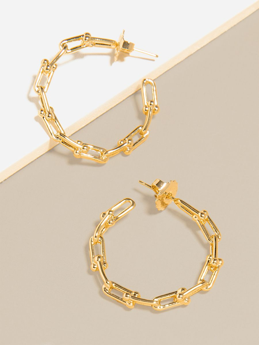 Chunky Cable Link Large Hoop Earring