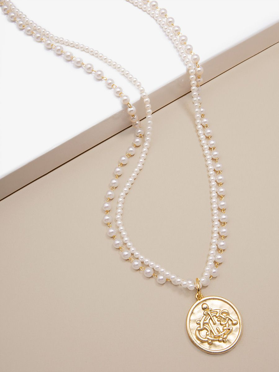 Pearl Long Necklace With Coin Pendant