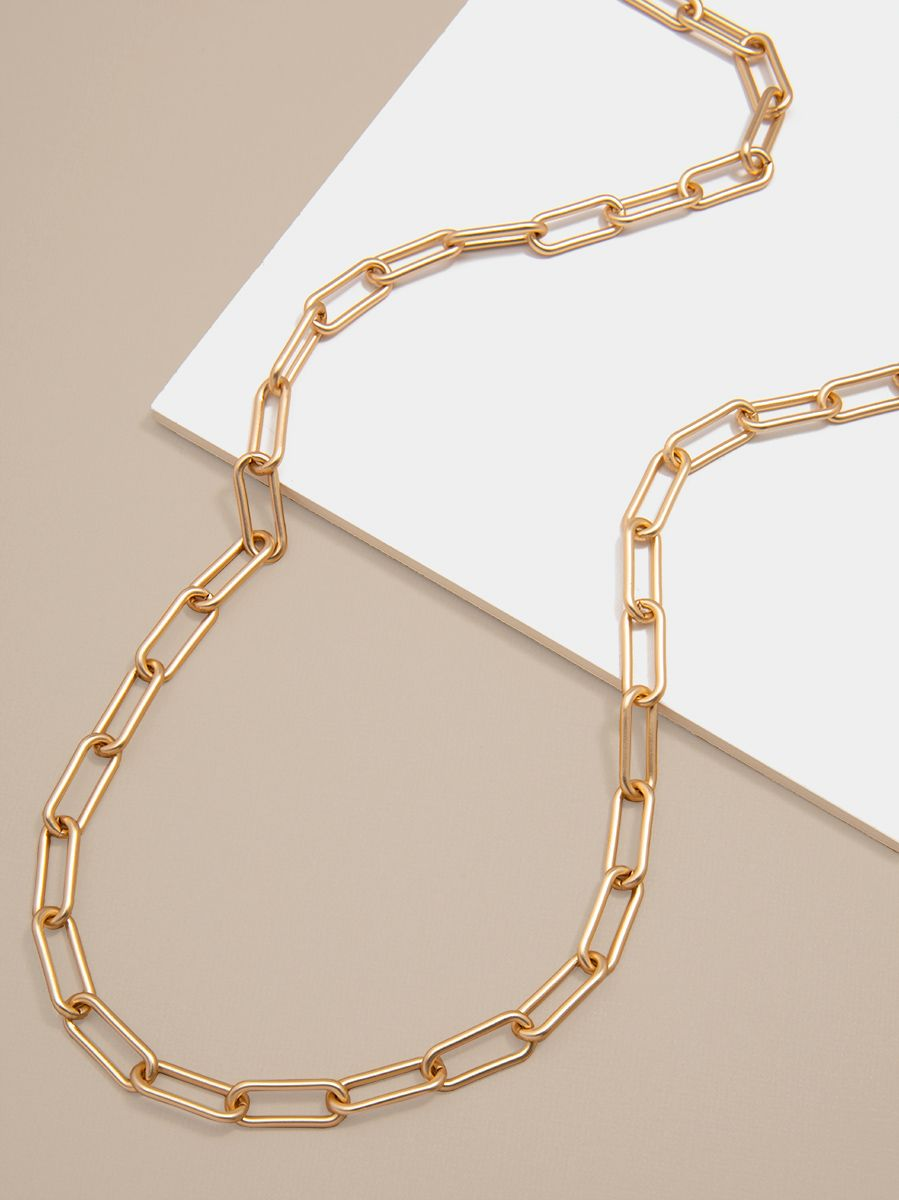 Large Paperclip Link Long Necklace