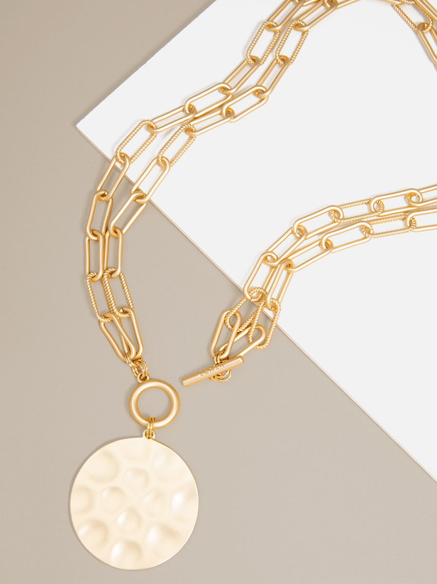 Double-Strand Gold Link Coin Necklace