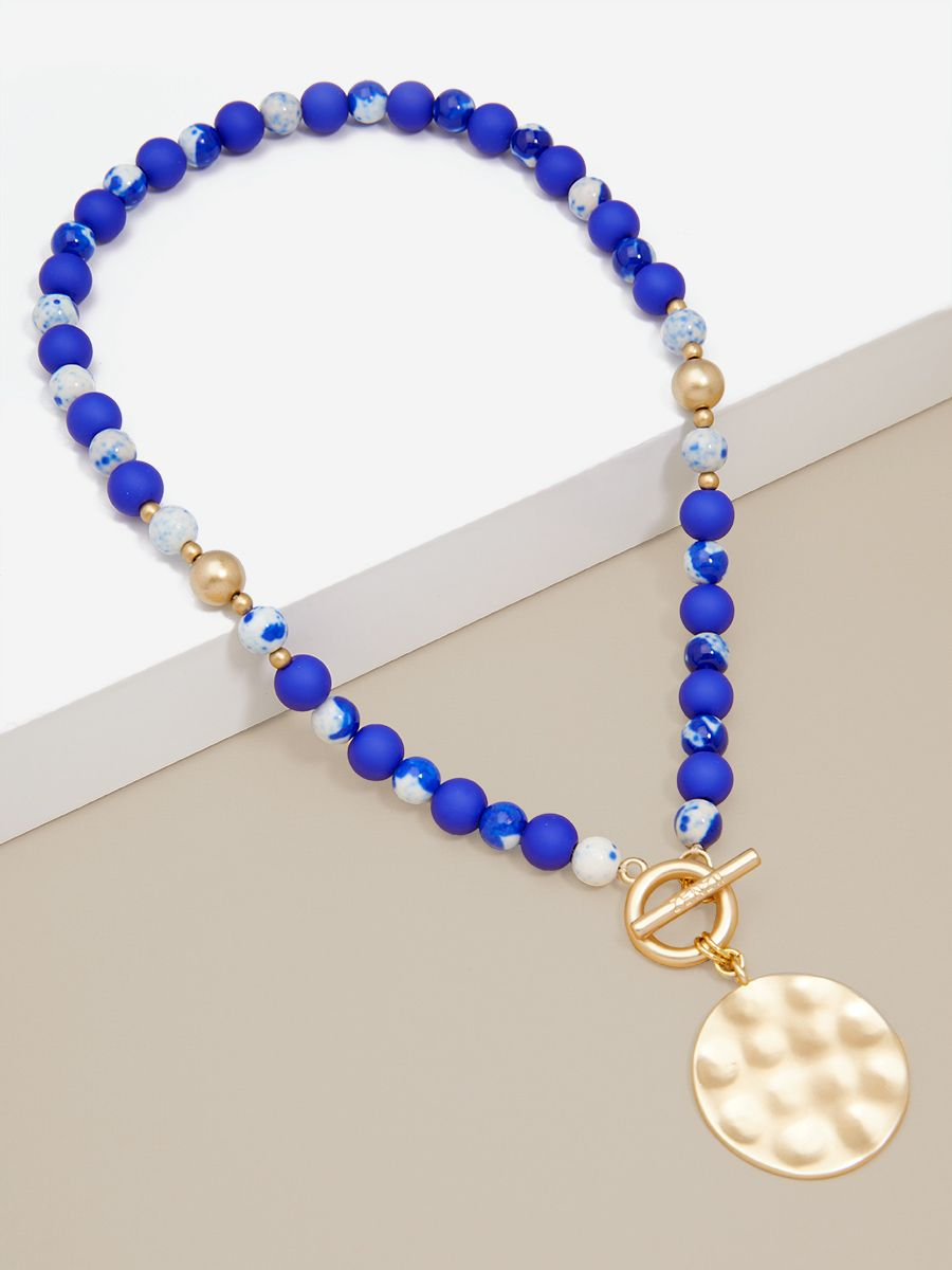 Porcelain & Resin Beaded Charm Necklace