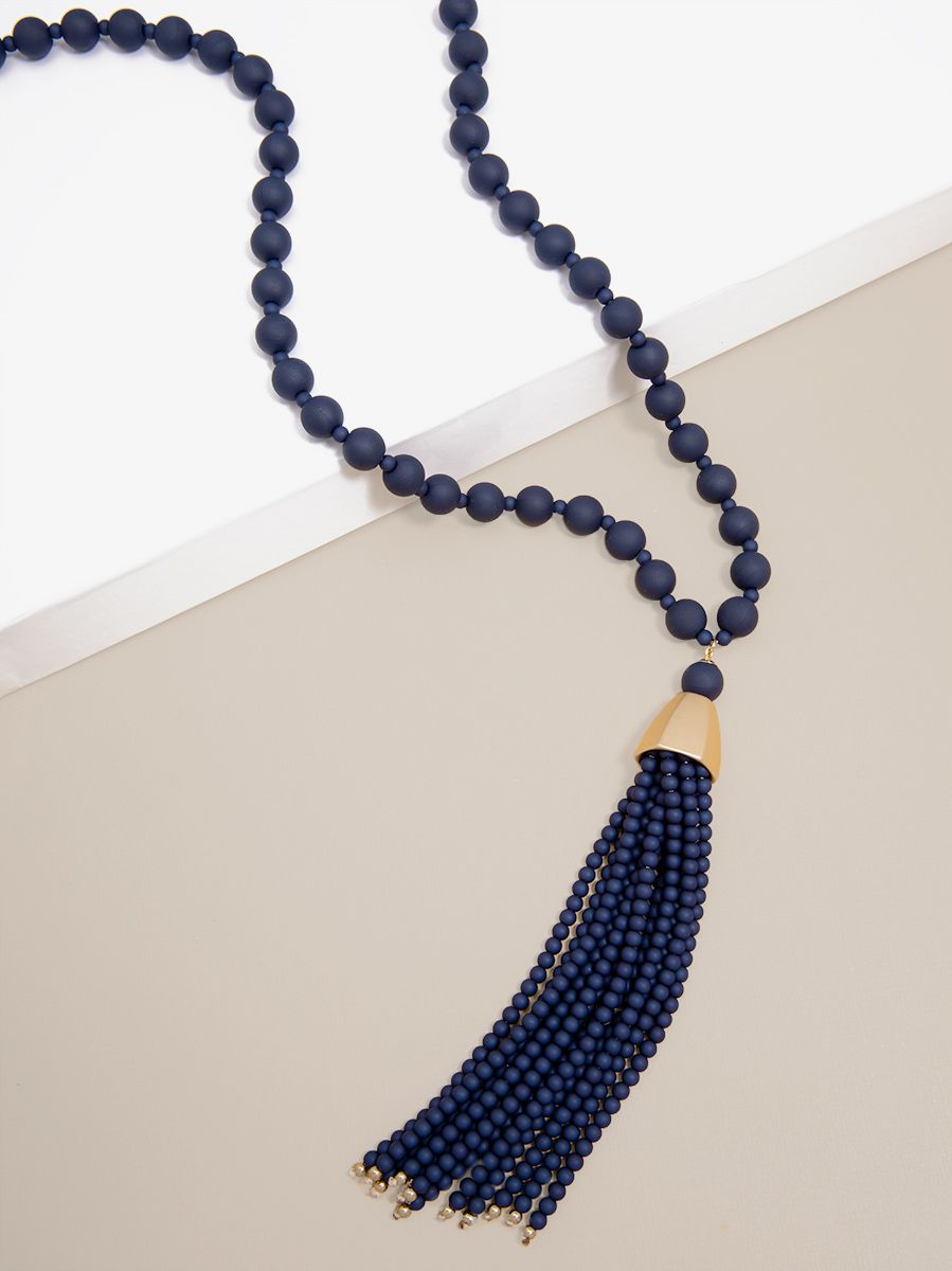 Matte Beaded Necklace with Beaded Tassel