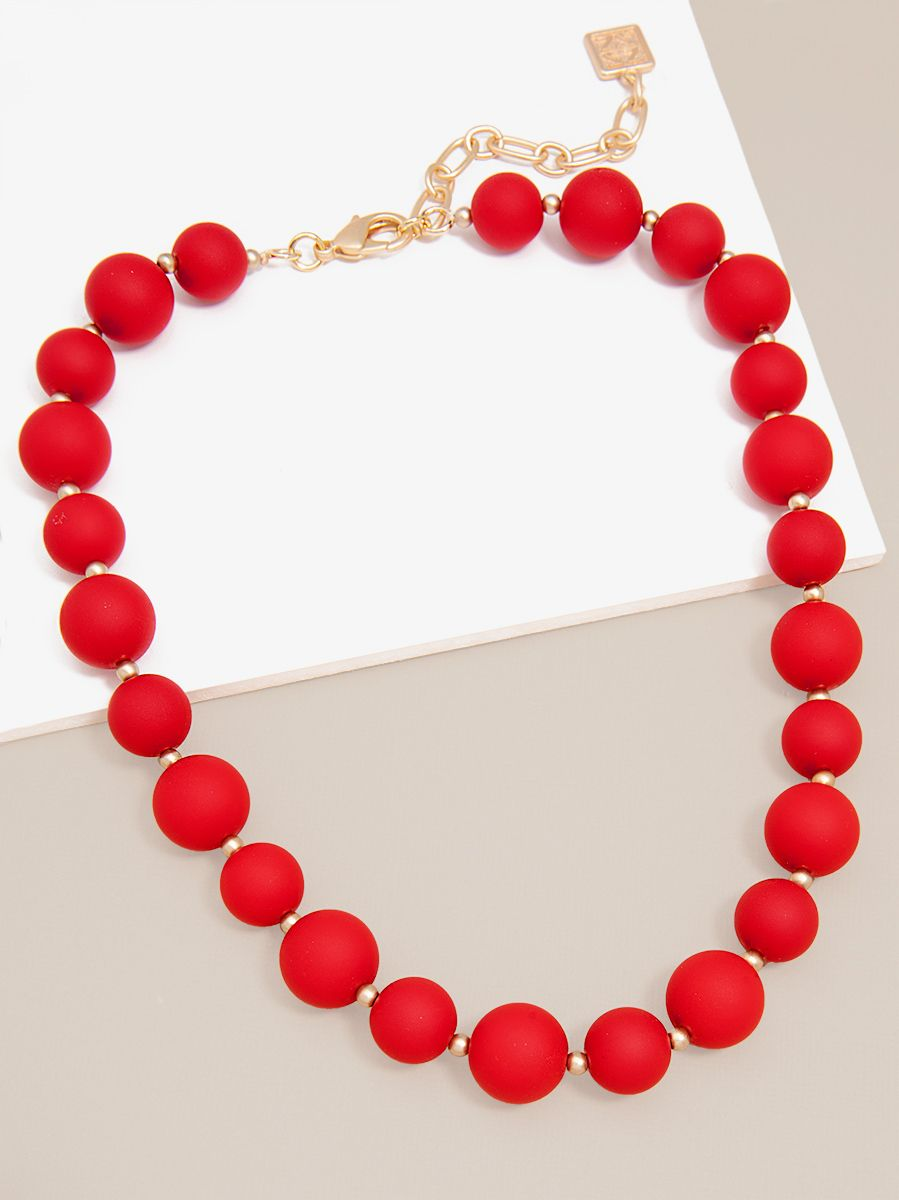 Chunky Matte Beaded Collar Necklace