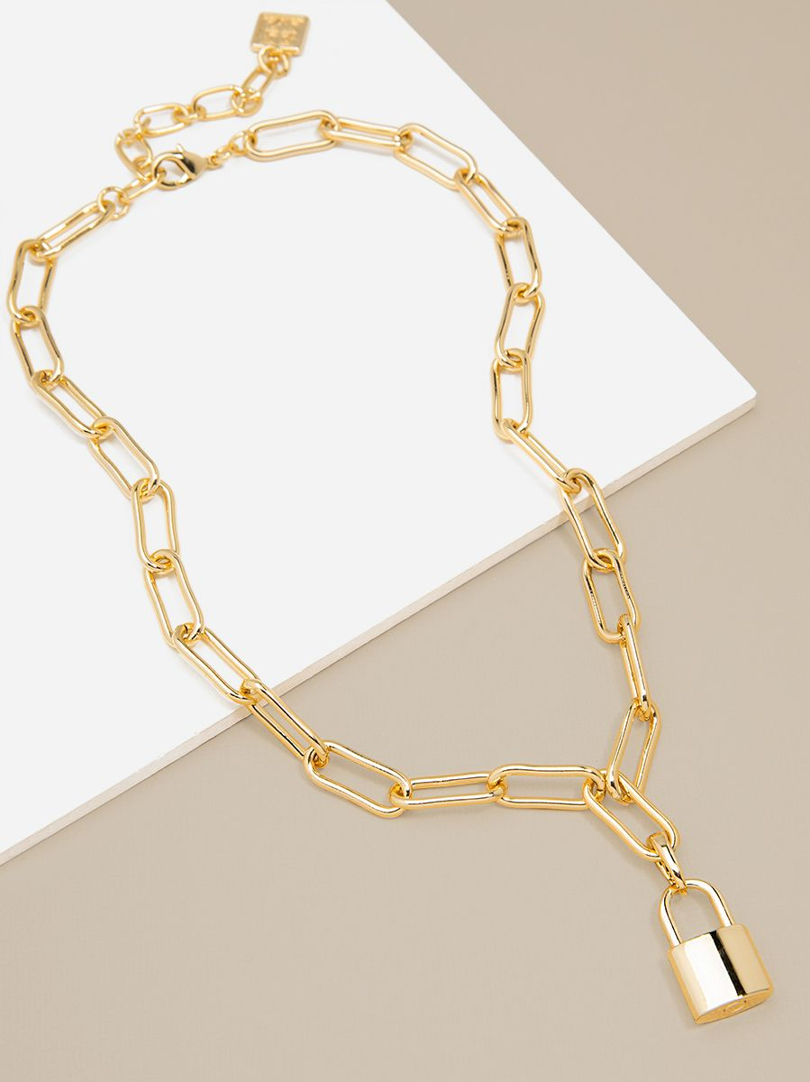 Gold Link Lock Necklace