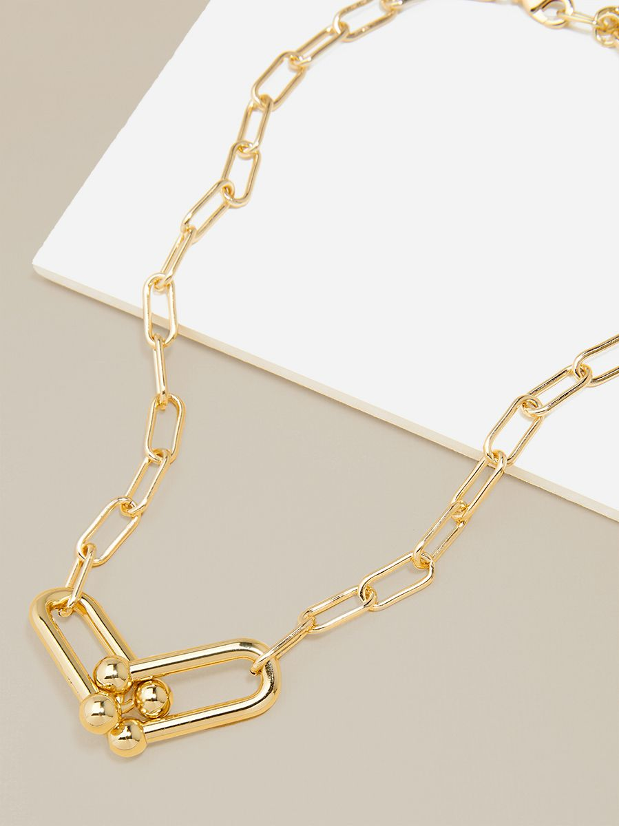 Cable Chain Collar Necklace With Linked Clips