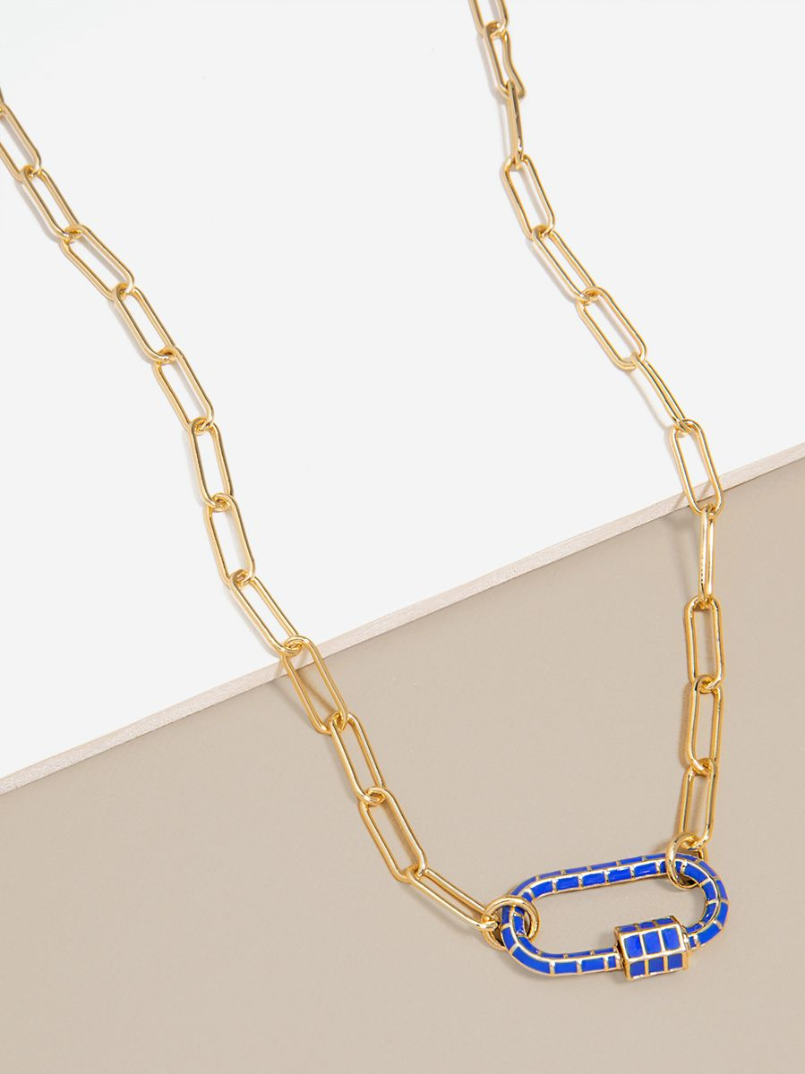 Enamel Charm Paperclip Link Collar Necklace