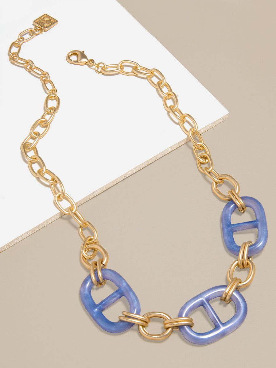 Resin Mariner Link Charm Collar Necklace
