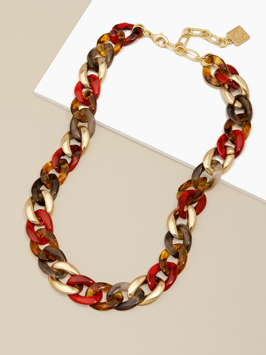 Mixed Media Curb Chain Necklace