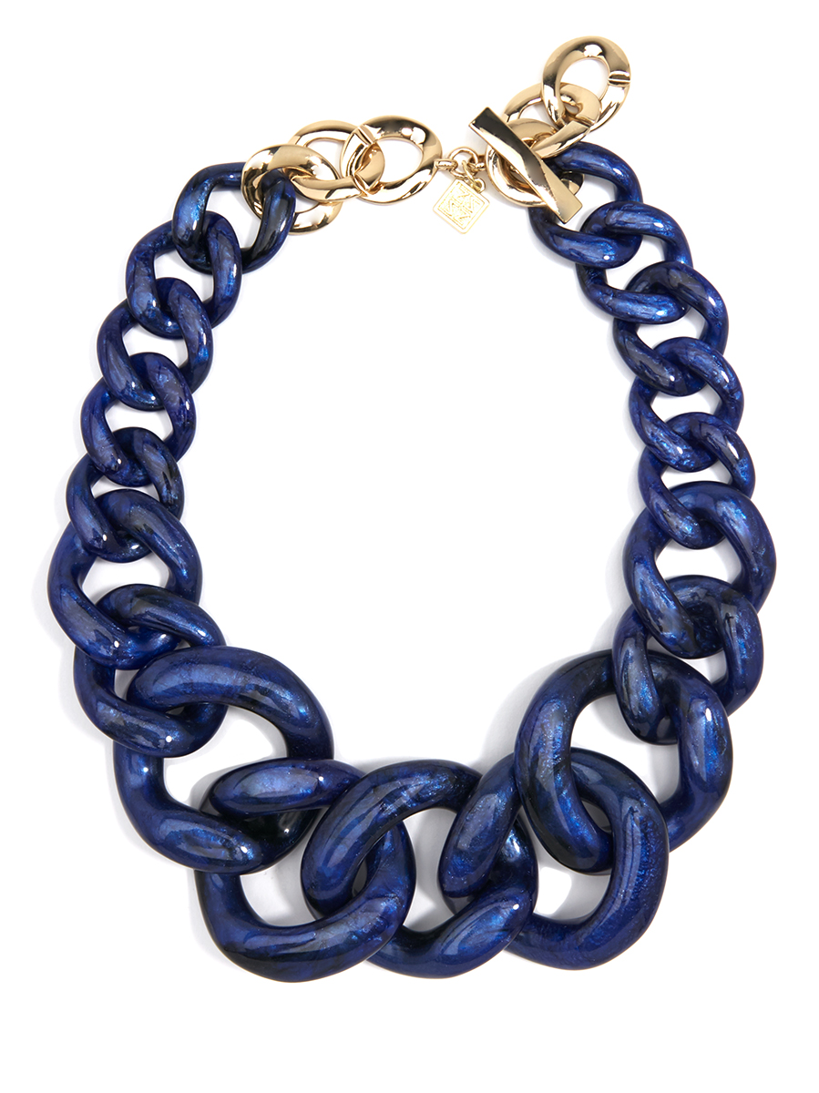 Metallic Marbled Linked Collar Necklace