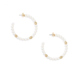 Pearl Hoop Earring With Gold Accents