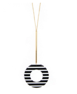 Striped Circle Pendant Necklace
