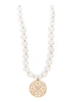 Ornate Pendant Pearl Long Necklace Jewelry