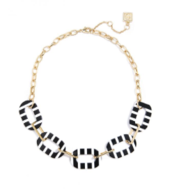 Striped Oval Links And Metal Chain Collar Necklace