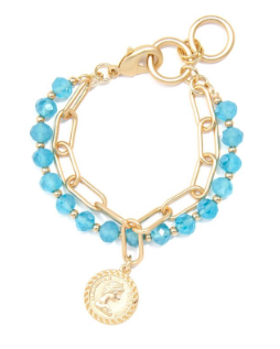Chain And Lucite Bracelet With Coin Charm Jewelry