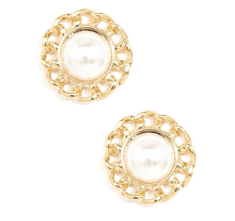 Pearl And Chain Stud Earring Jewelry