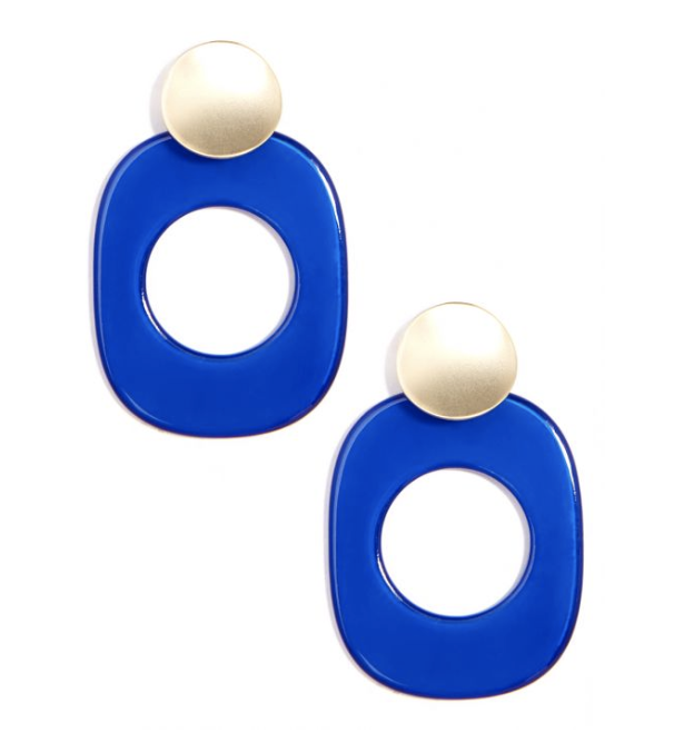 Gold And Oval Resin Drop Earring Jewelry