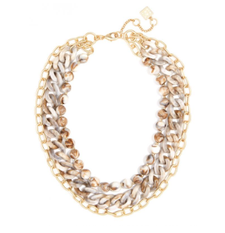 Marbled And Matte Gold Chain Collar Necklace Jewelry