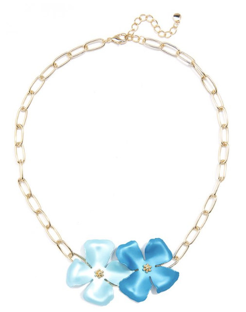 Metallic Flower Chain Collar Necklace Jewelry
