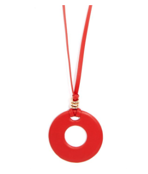 Faux Leather Round Pendant Necklace Jewelry