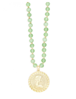 Beaded Lucite And Links Coin Pendant Necklace Jewelry